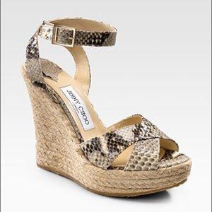 Jimmy Choo Snakeskin Espadrille Wedge Sandals